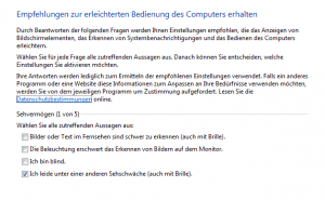 Windows Senioren Einstellungen-Assistent
